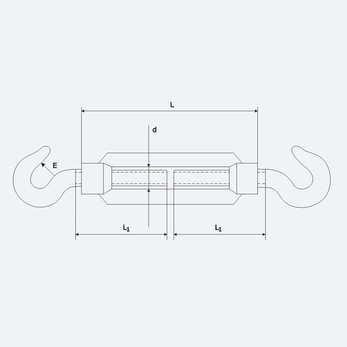 HAKEN M22 verzinkt Seilspanner Spannschraube Drahtseil SPANNSCHLOSS HAKEN